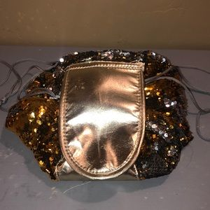 Gold silver sequins drawstring cosmetic bag